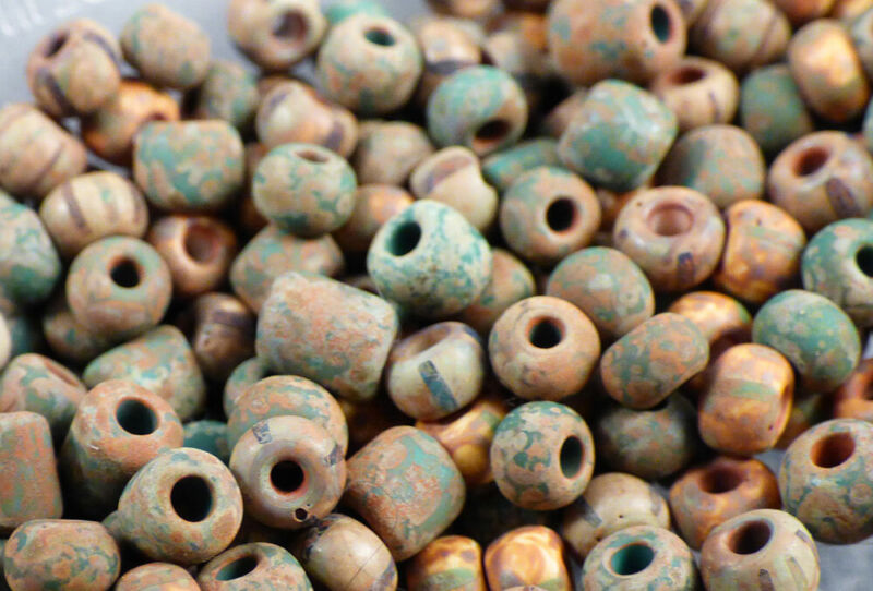 10 Old Indian Multi Color Clay Beads Good Patina & Nice Color