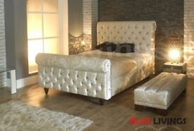 NEWLY ARRIVED ASTRAL CRUSHED VELVET FABRIC SLEIGH DOUBLE SIZE BED FRAME IN CREAM BLACK SILVER COLOUR