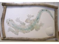 New driftwood and sea glass gecko mosaic picture by award winning artist Quick sale needed!