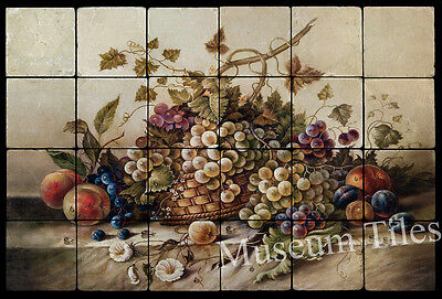 24x16  Fruit Backsplash Mural Art Deco Tumbled Marble Tiles Kitchen Ideas
