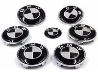 BMW CARBON FIBRE 7 PIECE BADGE PACK - 82mm BONNET 74mm BOOT 4 x 68mm ALLOY WHEEL 45mm STEERING WHEEL
