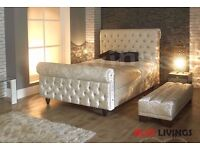 """Black, Beige and Black"" NEW Crush Velvet Fabric upholstered sleigh bed frame 3ft 4,6ft ,5ft, 6ft"