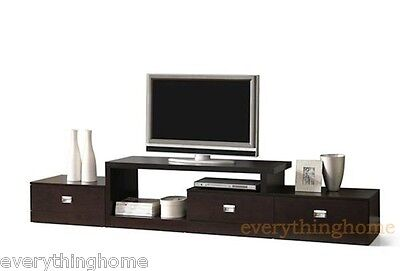 Brown Asymmetrical Modern Plasma LCD LED HD TV Stand Media Credenza Drawers Contemporary Plasma Tv Stand