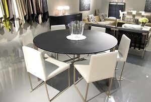 Round Dining Table 1.5m Italian Design Occhio Grey Satinato Glass Wollstonecraft North Sydney Area Preview