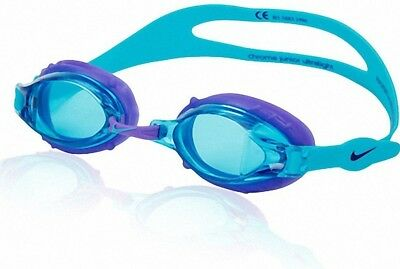 10e10ac3cbe NIKE CHROME JR WOMEN   GIRLS SMALL ADULT LARGE YOUTH SWIM GOGGLES TURQUOISE  BLUE