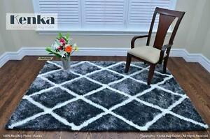 New Super Soft Handmade Moroccan Blue Grey Shag Rug For Sale, Free Delivery
