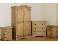 Solid Pine 4 Piece Bedroom Furniture Set Wardrobe/Chest Of Drawer/ Beside Tables BRANDNEW Flatpack