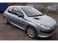 02 Peugeot 206 GTi, 2.0 petrol with manual gearbox in Moonstone blue