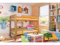 ALEX Y (Yellow) Double Wooden Bunk Bed for Children/Kids made of Solid Wood