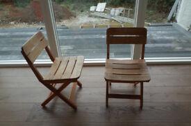 2 Habitat Folding Oak Chairs