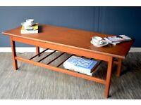 Vintage Danish style teak slatted coffee table. Delivery. Modern / Midcentury.
