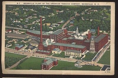 Postcard REIDSVILLE NC  American Tobacco Co  Plant Bird's Eye Aerial view 1930's
