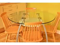 Modern Glass Dining/Kitchen Table (seats 4 comfortably but can seat 6)