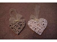 15x Ornate Wicker Hearts Organza Bows. 1x White Double Heart. Rustic Wedding Pew Ends Hanging