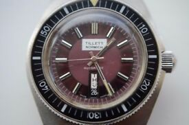 Vintage automatic mechanical diver's wristwatch- Tillett of Norwich - '70s - Stainless steel