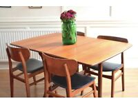 Vintage G Plan drop leaf teak table and chairs. Delivery. Modern / mid century / Danish style.