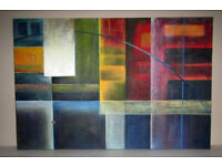 Picture painting oil on canvas stretched on frame Abstract Squares 3ft x 2ft unknown artist