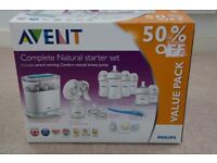 Phillips Avent Complete natural starter set including Steriliser, bottles, breast pump