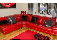 red leather corner suite ,immaculate condition cost 2K new.
