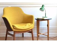 Stylish Vintage Danish teak armchair. Delivery. Modern / mid century / Scandinavian / retro style.