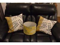 2 Cushions 2 Throws and matching lamp shade