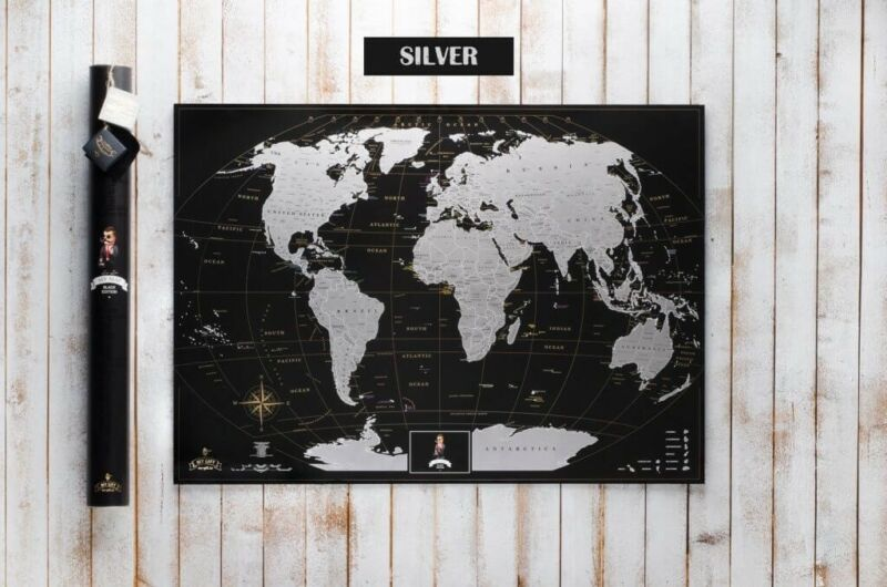 Deluxe Edition Scratch the World Silver Travel Poster. Personalized world map