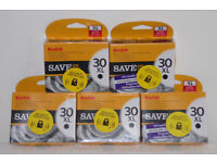 WHOLESALE BUNDLE OF 5 KODAK 30XL BLACK INK PRINTER SCANNER CARTRIDGES 670 PAGES.