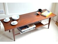 Vintage Richard Hornby Danish style two-tier teak coffee table. Delivery. Modern / Midcentury.