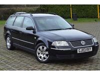 wv passat estate 2003 black- with towbar 1350£