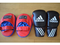 Adidas 12 oz boxing gloves and Title boxing pads