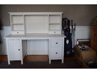 Ikea Hemnes white satin desk with add-on unit 155cm x 137cm as new.