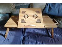 Wide Portable Bamboo Foldable Laptop Desk Notebook adjustable Tray Table Bed Table with Drawer