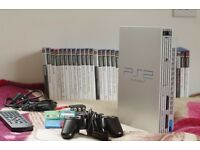 PlayStation 2 FAT Silver +34 games + gamepad + remote + 6 memory cards + buzzers. Great condition!