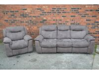 Warm grey 3+1 Sofa suite - all reclining - very very clean condition - Carlisle Centre - can deliver