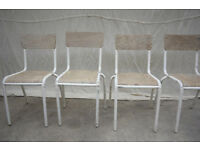Industrial Vintage Mullca Wooden French School Cafe Restaurant Chairs x 4