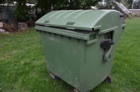 Wheelie bin 1100 litres water tight with bung in the bottom