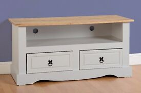 New White grey or cream Corona Mexican pine dining & occasional from £79 TV unit £89