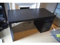 IKEA Malm Desk - Black/Brown - 140 X 65