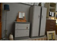 Upcycled Wardrobe and drawer chest - warm greys