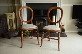Pair of pretty Victorian Scullery maids chairs (small)