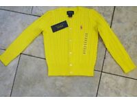 RALPH LAUREN Neon Yellow Cotton Cable Cardigan Size 4T or L (12-14) Fit 10-11