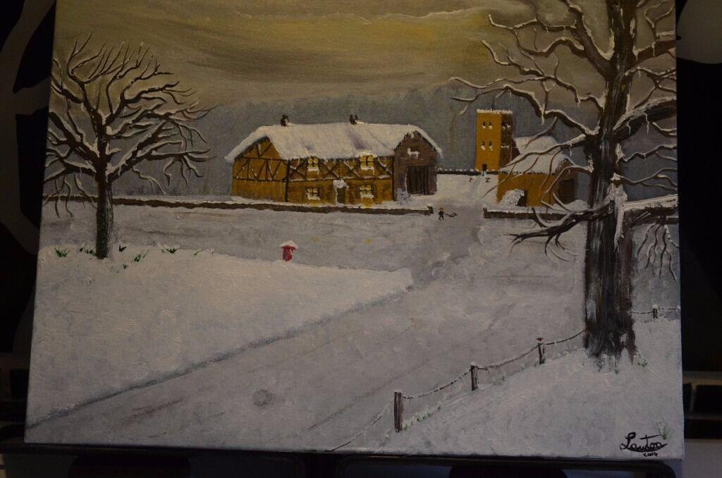Christmas scene paintings.(times 2)