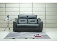Designer 3+2 leather electric recliner grey black brown