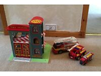 Wooden Toy Fire Station and 3 Fire Engines