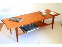 Vintage Richard Hornby for Heal's Danish style two-tier teak coffee table. Modern / Midcentury.