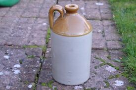 Flagon Stoneware Glazed with Top Handle, two tone, excellent condition, no cracks or chips
