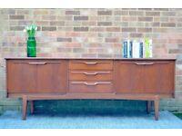 Stylish Vintage Danish style teak long sideboard. Delivery. Modern/ Midcentury.