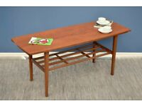 Vintage Danish style two tier teak slatted coffee table. Delivery. Modern / midcentury / retro
