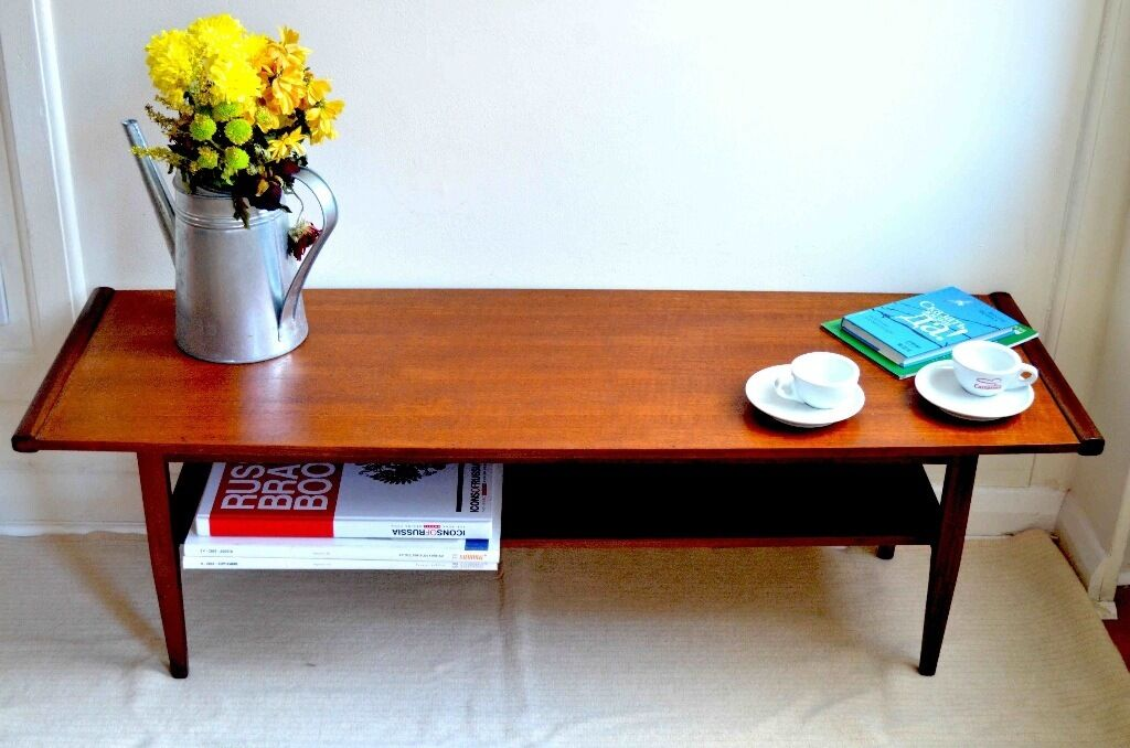 Vintage Myer Danish Style Teak Slatted Coffee Table Delivery Modern Mid