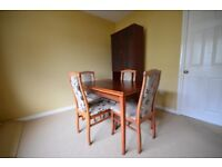 Dining Table, 4 Chairs and Glass Cabinet